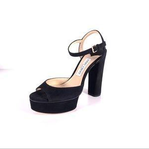Jimmy Choo Peachy Black Suede Platform Sandals NEW